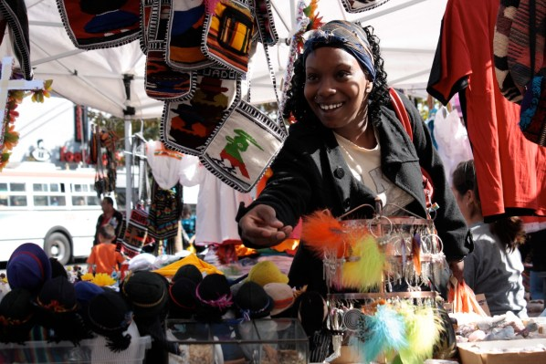 The Mission Artisans Market attracts passersby on Saturdays.
