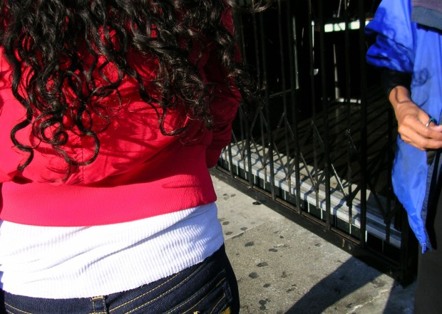 Red and blue clothes dot the Mission's streets.