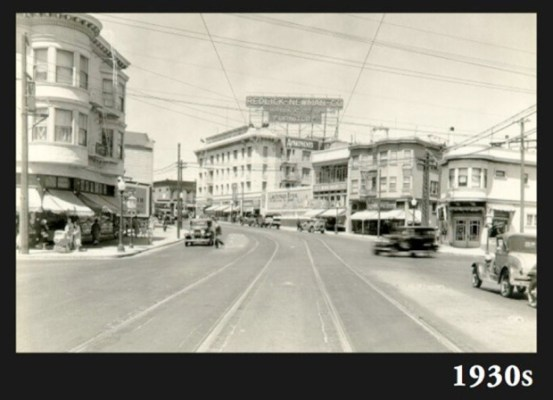 Tracks are visible from the street cars that used to run along Cesar Chavez Street