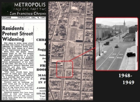 As automobiles grew in popularity, the city decided to widen Cesar Chavez into a six-lane street in 1948. A San Francisco Chronicle article from 1947 shows residents' protests fell on deaf ears.
