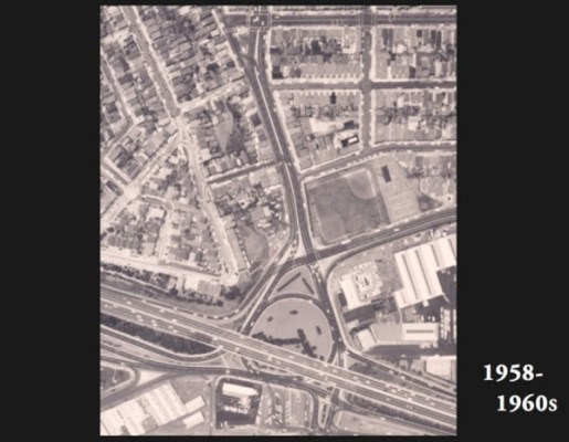 10 years later, the Bayshore Freeway (Highway 101) was constructed. A traffic circle can be seen where Cesar Chavez Street meets the highway.