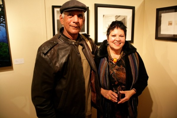 Gonzalo Moreira and Patricia Rodriguez, a muralist, artist, and one of the founfers of the Muralistas, a group of women artists who began painting in the early 1970's.