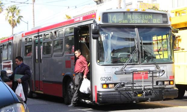 The Muni bus halted at Mission between 24th and 25th streets. Photo by Christine Mai-Duc