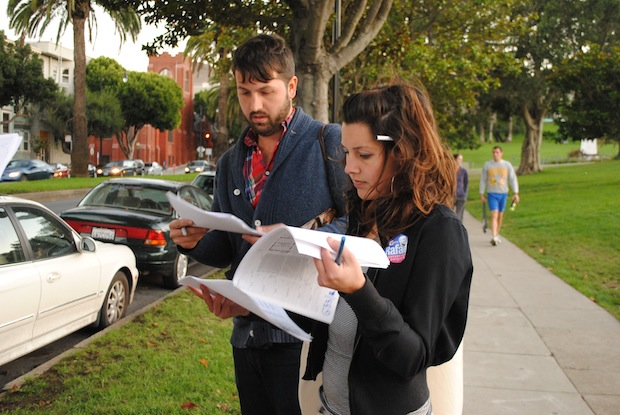 Campaign Managers Nathan Albee and Stephany Ashley lead a canvassing excursion for Rafael Mandelman one week before election day.