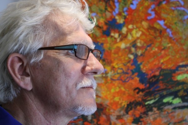 """Instead of traveling with a camera I travel with a journal"" says Terry Dunn. He draws landscapes as he remembers them. As the painting progresses, ""that landscape, over time, dissipates."""