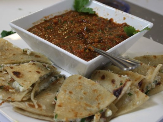 Dishes like these crab quesadillas with tomatillo salsa took barely and hour for the group to complete.