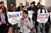 Students speak out at the DREAM Act rally, held on the steps of Mission High School.