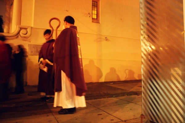 Priests, passing the 22 bus stop.