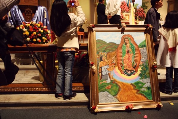 Today is the day of the Virgen de Gudadlupe. At 5 a.m., Dolores Basilica was filled to overflowing with people bearing flowers and images of the Virgen.