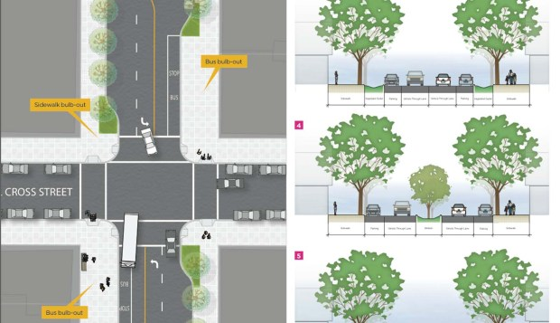 In this illustration from the Mission Streetscape Development Plan: Residents asked for greenery, not bikes.