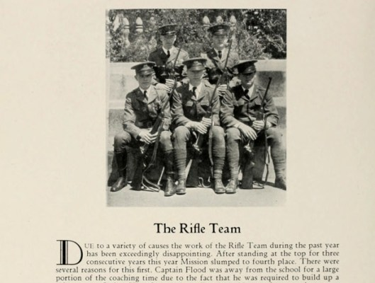 """A bad year for sports all around: """"Due to a variety of causes, the work of the Rifle Team this year has been exceedingly disappointing."""""""
