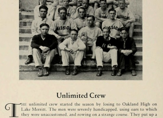 """Writeups of the sports teams are harsh, but poetically so. """"The unlimited crew started the season by losing to Oakland High on Lake Merrit. The men were severely handicapped, using oars to which they were unaccustomed, and rowing on a strange course."""