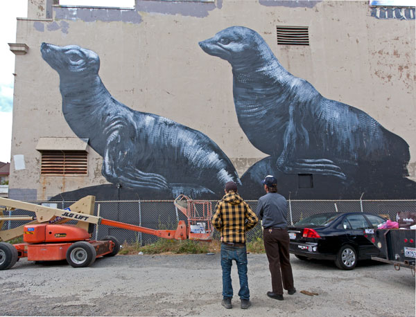 Roa, on the left, and his documentarian.