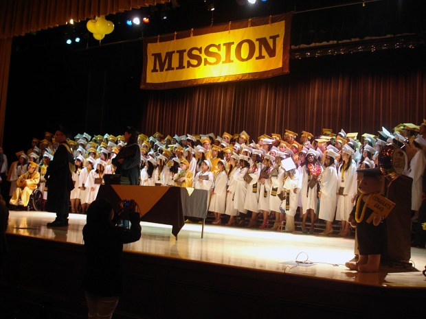 Seniors On stage at Mission High for the last time.