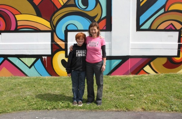Darrah with her son, Bridge Robinson, another Buena Vista student who participated in the creation of the mural.