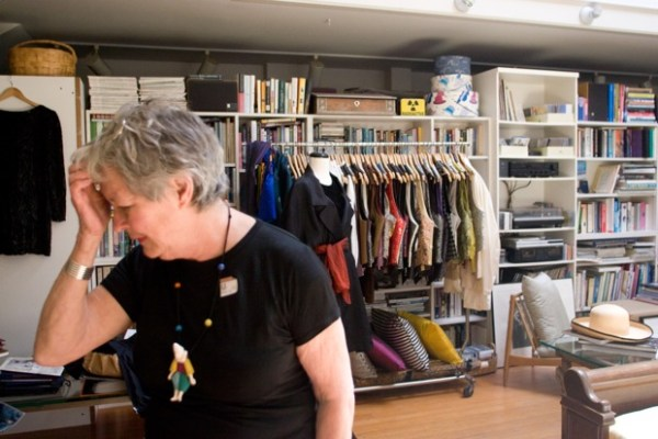 Brenda Kett in her open area, formerly part of the congregation hall, where her clothing can be created and seen.
