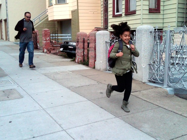 A father-daughter chase on 24th Street