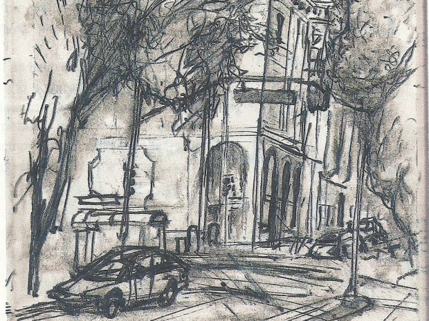 A sketch of 18th and Guerrero streets by Tom Stolmar.