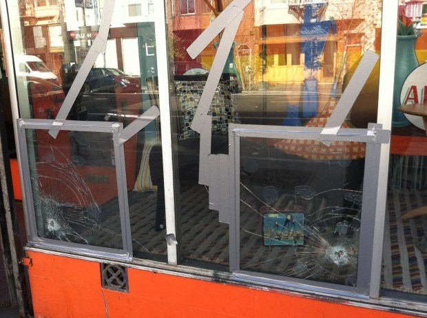 Windows smashed at Therapy. Photo by Hadley Robinson