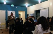 Supervisor David Campos addresses community members at a public meeting on the Mission's liquor license ban