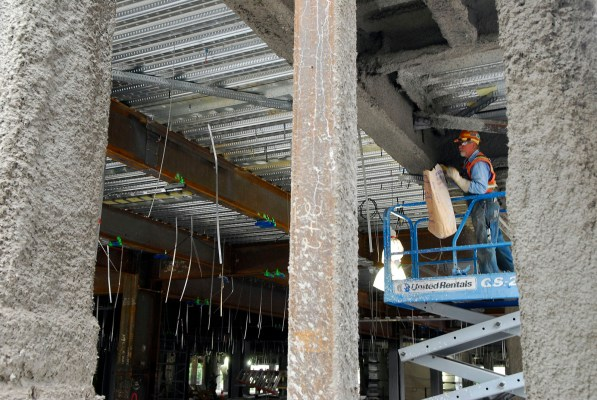 Construction workers tend to various projects on second floor which will house Pediatrics, Labor and Delivery and the Nursery. The Labor, Deliver, Postpartum and Recovery (LDRP) suites will have wood laminate floors, natural lighting, art work, noise control and and an alcove with pull out furniture for family overnight stays.