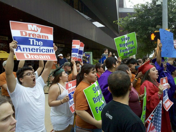 Students protest in support of the DREAM Act in Austin, Texas. Photo by Todd Dwyer.