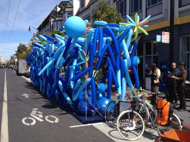 Balloons: Park(ing) Day installation by Interstice Architects on 17th Street and Valencia Street. Photo by Erik Neumann.