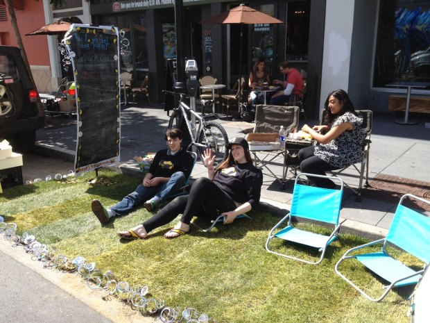 Kurt Texter, Danielle Weintraub and Mrundi Patel at Kurb Karma's Park(ing) Day installation.