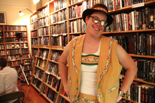 Heather Robinson'€™s Lederhosen stand out from the many books that line the shelves of Borderlands Books. Photo from 2012 by Alicia Avila.