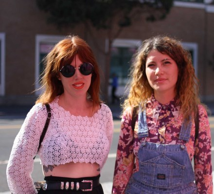 These ladies' style made us dream of the 90s. Snapped near Clarion Alley. Photo by Anne Hoffman.