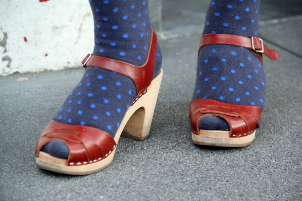 Cathy Bishop takes a fall twist on a summer staple by pairing tights with open-toed sandals.