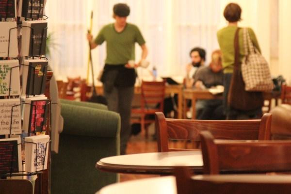 Z'ev Jenerik prepares for closing at Borderlands Cafe.