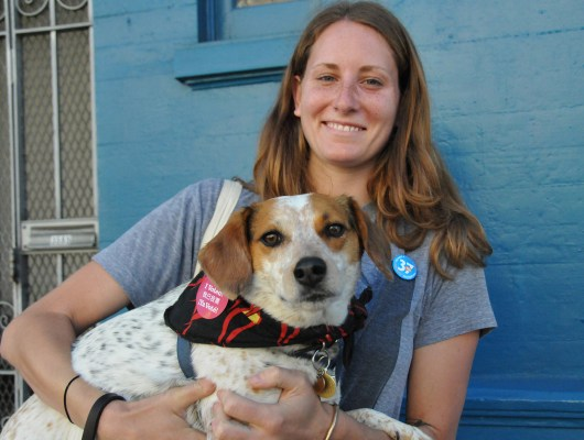 Mission voter Meghan Lunne, 27, and her dog Tia spotted near 18th and Valencia streets. Photo by Alejandro Bryan Rosas.