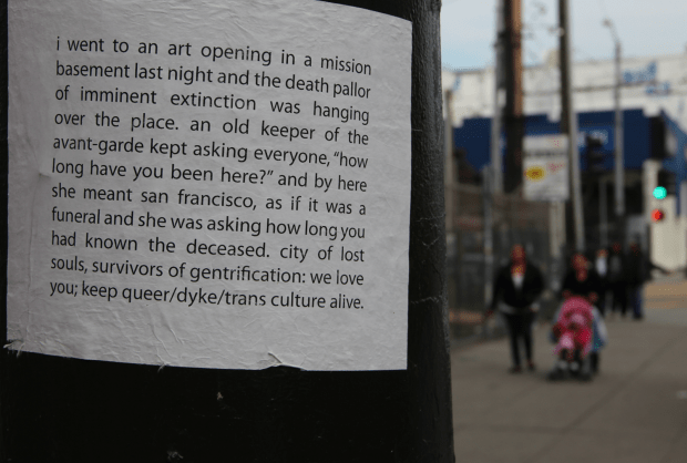 Posting on 16th Street. Photo by Mateo Hoke.