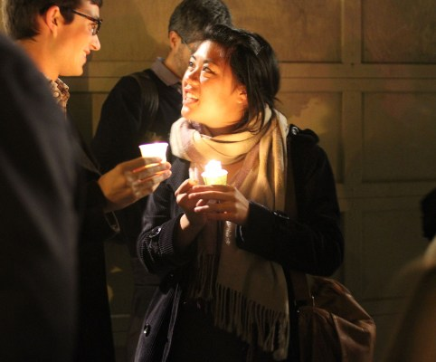 Vigil attendees found fellowship with a community of people who were inspired by Harvey Milk. Photo by Anne Hoffman.