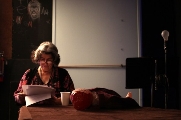 Barbara Selfridge prepares backstage of The Marsh on a recent Monday evening prior to her solo performance.
