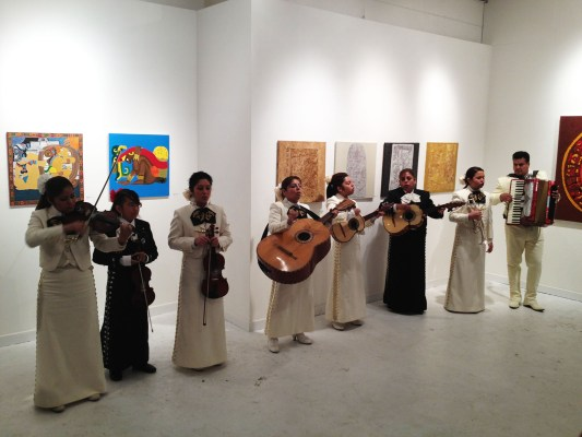 Mariachis playing at Galeria de la Raza.