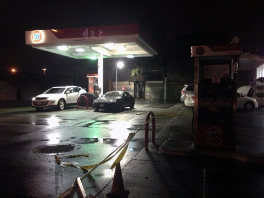 Other pumps at the gas station were reopened Saturday night. Photo by David White.