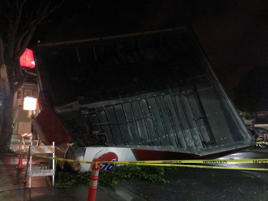 An overhang collapsed at the 76 gas station at Potrero Ave and 17th Street Saturday. Photo by David White.