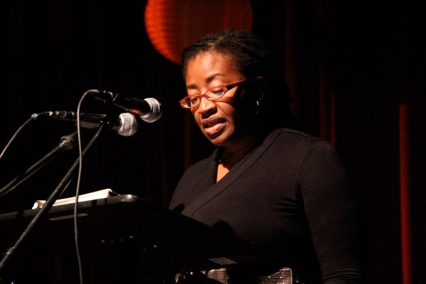 """Sharron SK Williams is originally from Belize and is a member of the Garifuna ethnic group. Her piece was peppered with Garifuna words such as """"leremuha egi,"""" which means the songs of the grater, a women's work song."""