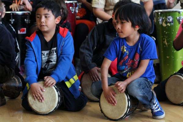 "Children drum as part of Loco Bloco's ""Hella Loco Carnaval"" classes."