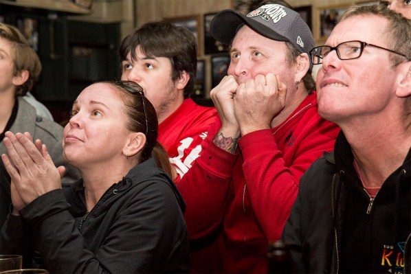 Football fans at Kilowatt hope the 49ers can catch the Ravens. (Photo by Marta Franco)