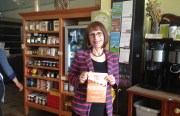 "Wenonah Hauter with her new book, ""Foodopoly,"" at Mission Pie. Photo by Carly Nairn."
