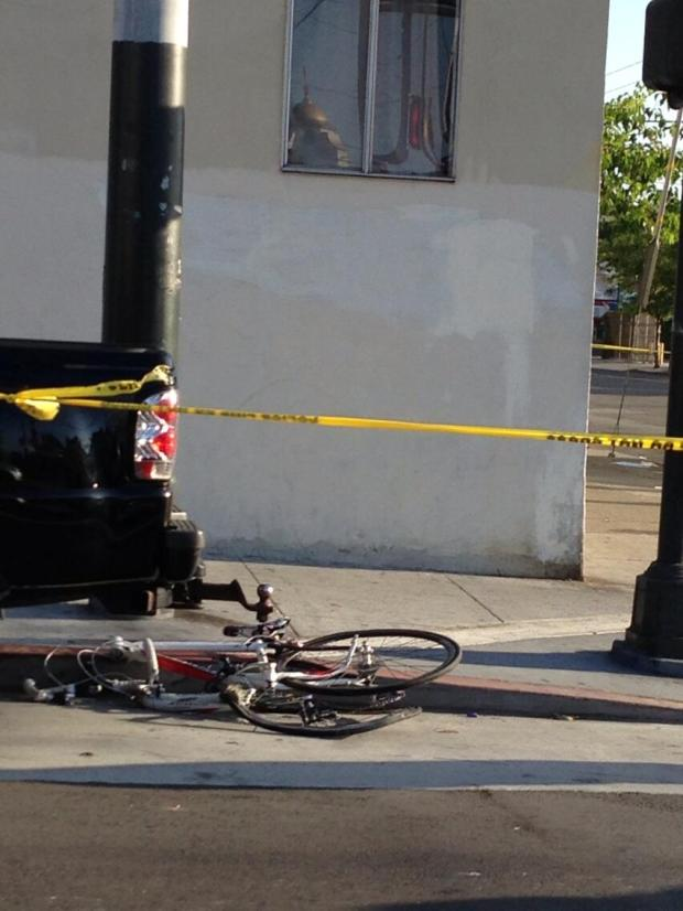 Photo of bike near the scene of the May 23 accident, taken by Twitter user terrapin_sf.