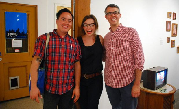 "Curator Amy Cancelmo with filmmaker and scholar Greg Youmans and filmmaker Chris Vargas who are included in the exhibition ""Strange Bedfellows"""