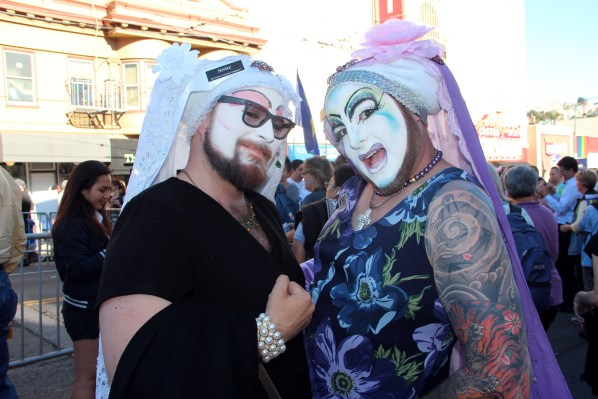 Novice Sister Scarlet Marx and Sister Violet Sin Bloom of Sisters of the Perpetual Indulgence joined the celebration.