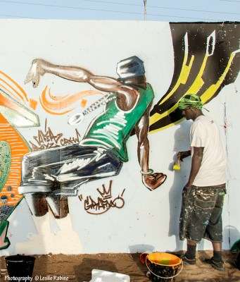 Grafixx (Omar Diop) works on his hip-hopper perso at the HLM neighborhood.
