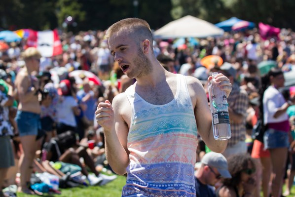 A man dances during the celebration at Dolores Park before the Dyke March.
