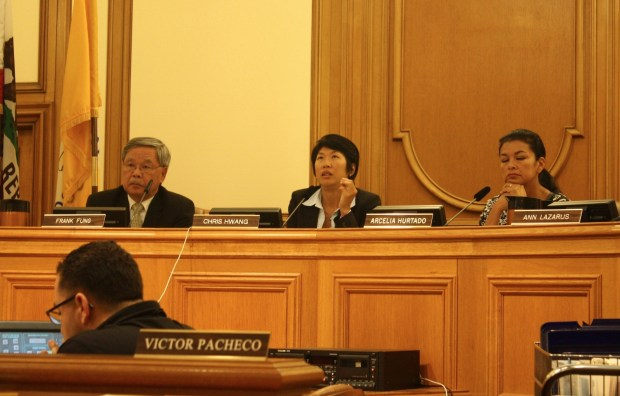 Board of Appeals members Frank Fung, President Chris Hwang, and Arcelia Hurtado issue decision about jurisdiction for appeal of Jack Spade's Letter of Determination on August 14. Photo by Daniel Hirsch.