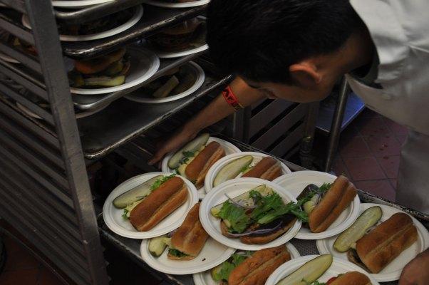 Mediterranean veggie sandwich with artichoke.